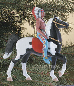 Breyer-700617-Retro-Pinto-Western-Prancer-Horse-amp-Indian-Chief-Ornament-NIB