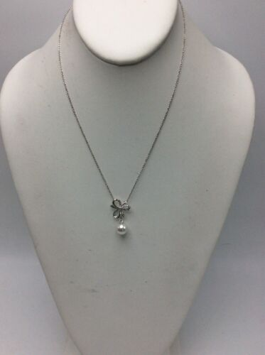 $60 Nadri silver tone pearl drop bow necklace N78