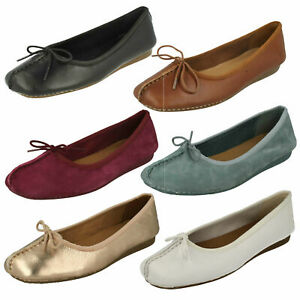 Details about Womens Clarks Unstructured Slip On Bow Casual Ballerina Flat Shoes show original title