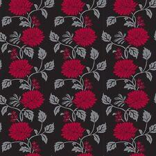 Red Black Chrysanthemum Flower Look Contact Paper Wallcovering Vinyl Wallpaper