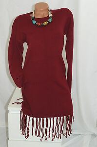 Kleid-Strickkleid-Lang-Pullover-Winter-Empire-Fransen-langarm-weinrot-rot-38-40