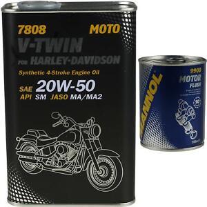 1L-MANNOL-V-Twin-for-Harley-Davidson-API-SM-20W-50-Motorspuelung-Motor-Flush
