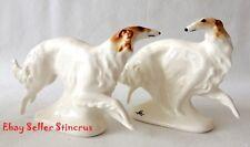 Borzoi Russian graceful & fast run Color White Author's Porcelain figurines NEW