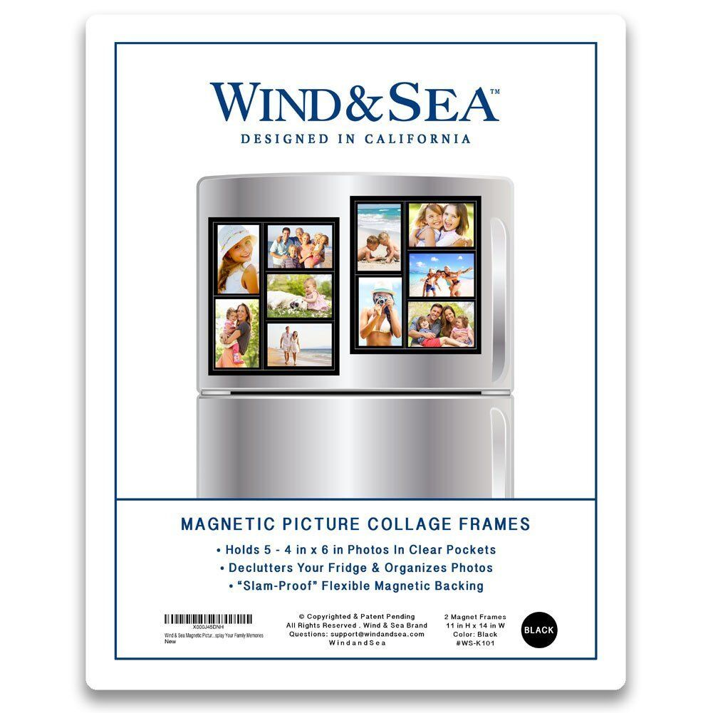 Wind Sea Magnetic Picture Frame Collage for Refrigerator Holds 10 ...