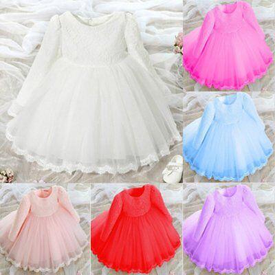 0-6Y Autumn Winter Baby Kids Girl Long Sleeve Dress Pageant Wedding Flower Dress