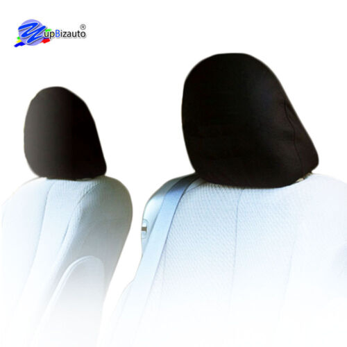 SOLID BLACK CLOTH CAR HEADREST COVERS WITH FOAM BACKING SET OF 2 FOR KIA