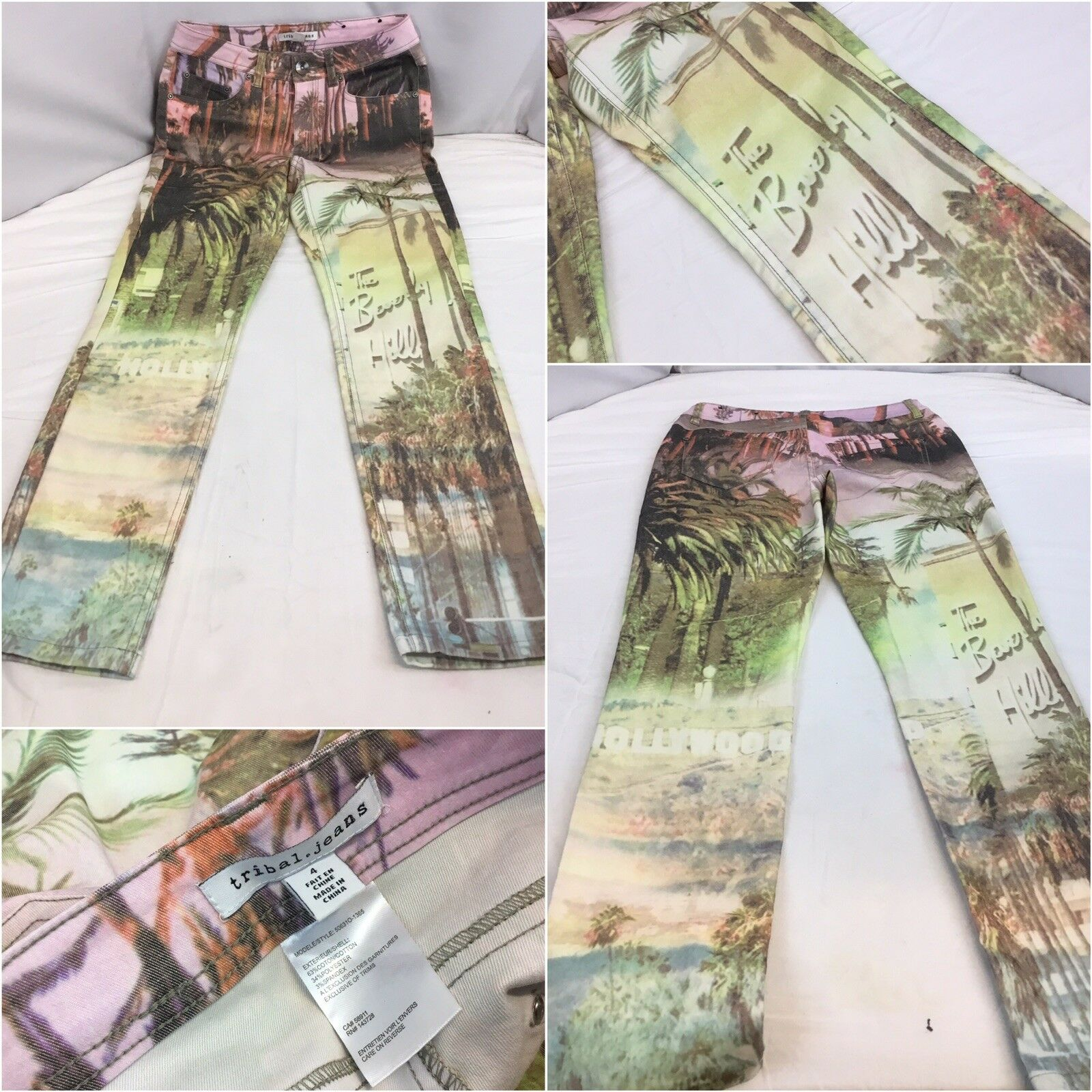 Tribal Jeans Sz 4 Hollywood Design Pink Floral Cotton Poly Lycra NWOT YGI K8-506