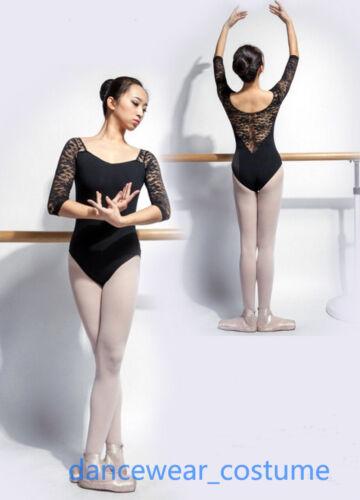 New Ladies Ballet Dance Gymnastics Leotard 6//10 Long Sleeve Cotton Lace Leotards