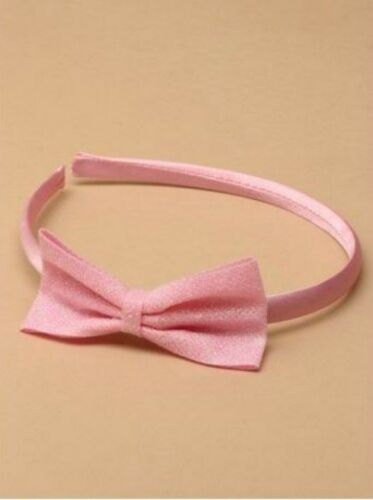 Ladies Womens Girls Kids Pink Satin Glitter Bow Colour Alice Band Head Band
