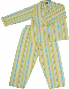 PYJAMA-SUIT-SLEEPWEAR-100-COTTON-WHITE-BLUE-LIME-GREEN-THICK-STRIPES-1-5-YRS