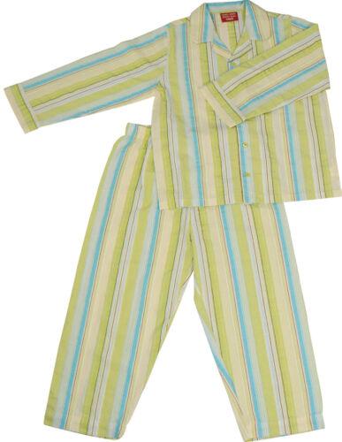 PYJAMA SUIT SLEEPWEAR 100/% COTTON WHITE//BLUE//LIME GREEN THICK STRIPES 1-5 YRS