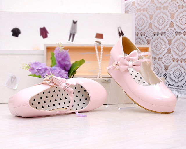 Womens Platform Wedge Mary Jane Bow Lolita Candy Creepers Pump Leather Plus Size