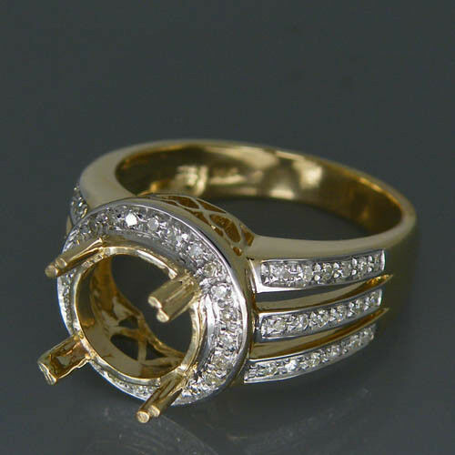 14K Yellow gold Natural Diamond Semi Mount Engagement Ring Round 8mm