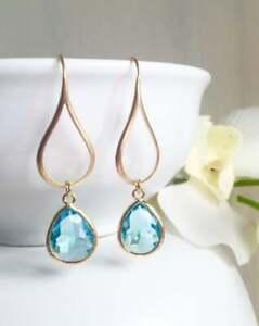 14k-Yellow-Gold-Over-3-Ct-Blue-Aquamarine-Pear-Cut-Women-039-s-Drop-Dangle-Earrings