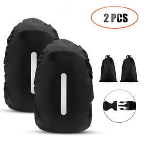 AGPTEK Waterproof Backpack Rain Cover 2-Pack Nylon with Reflective Strip Black