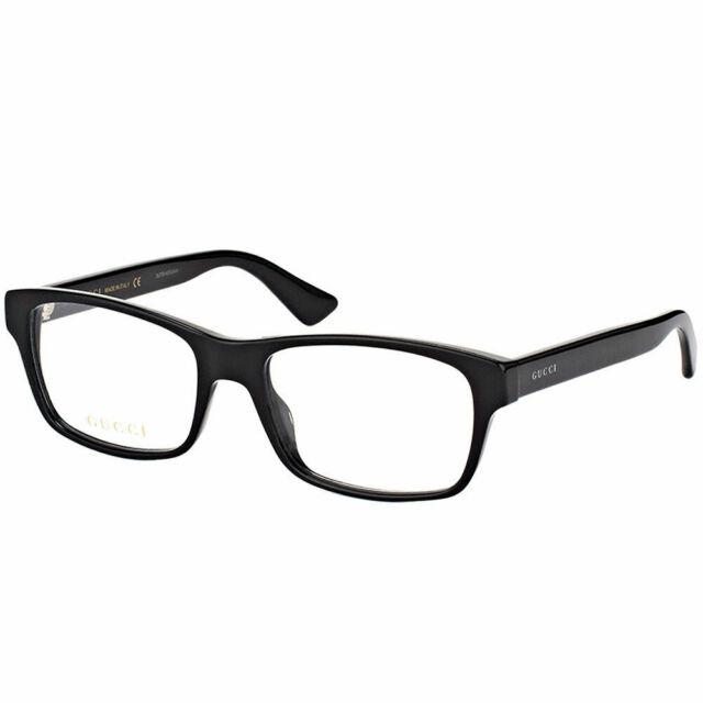 2ebb306c854 New Authentic Gucci GG0006O 005 Black Plastic Rectangle Eyeglasses 55mm