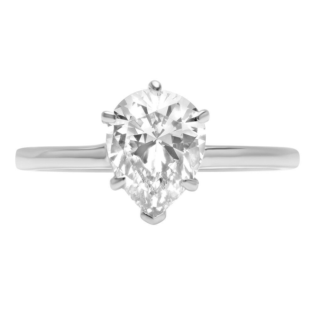 2.6ct Pear Cut Wedding Solitaire Engagement Anniversary Ring 14k White gold