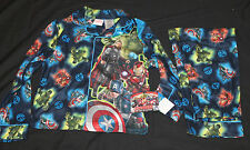 Boys Marvel Avengers Age of Ultron 2 Pc Button Up Pajama Set new Size 8 #547