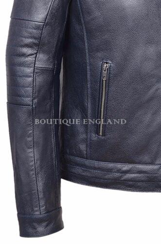 Fielder Men/'s Navy Blue Cool Retro Biker Style Cowhide REAL Leather Jacket