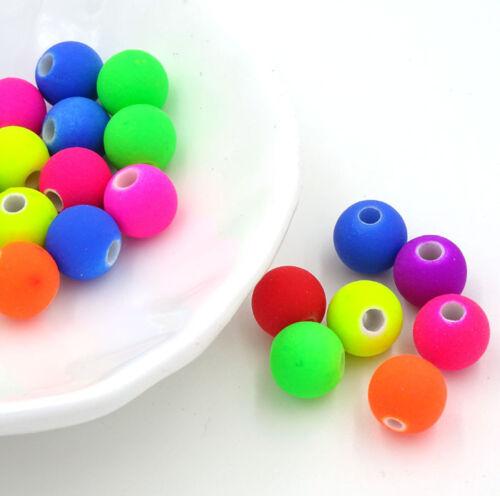 Collier effet caoutchouc Creation Bijoux 20 Perles en acrylique 8mm Fluo Mixte