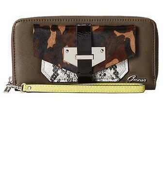 GUESS Quinn Large Zip Around Clutch, Olive-Multi Wallet