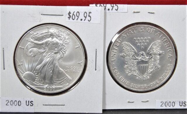2000 American Silver Eagle BU 1 oz Coin $1 Dollar U.S. Mint Uncirculated Toning