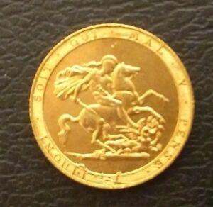 Vente-george Iii 1817, Lauréat Du Prix Head 22 Ct Plaqué Or £ 1 Souverain Unc-afficher Le Titre D'origine