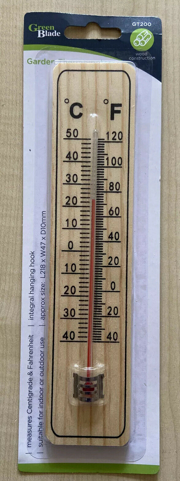 LARGE WOODEN THERMOMETER GARDEN HOME KITCHEN INDOOR OUTDOOR TEMP HOUSE MEASURE
