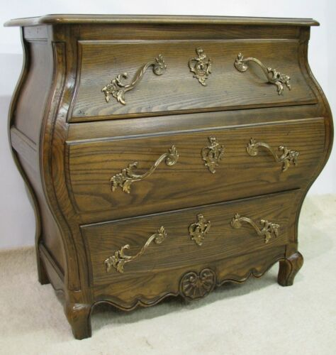 Baker Furniture Solid Oak Three Drawer Louis XV Style Bombe Chest