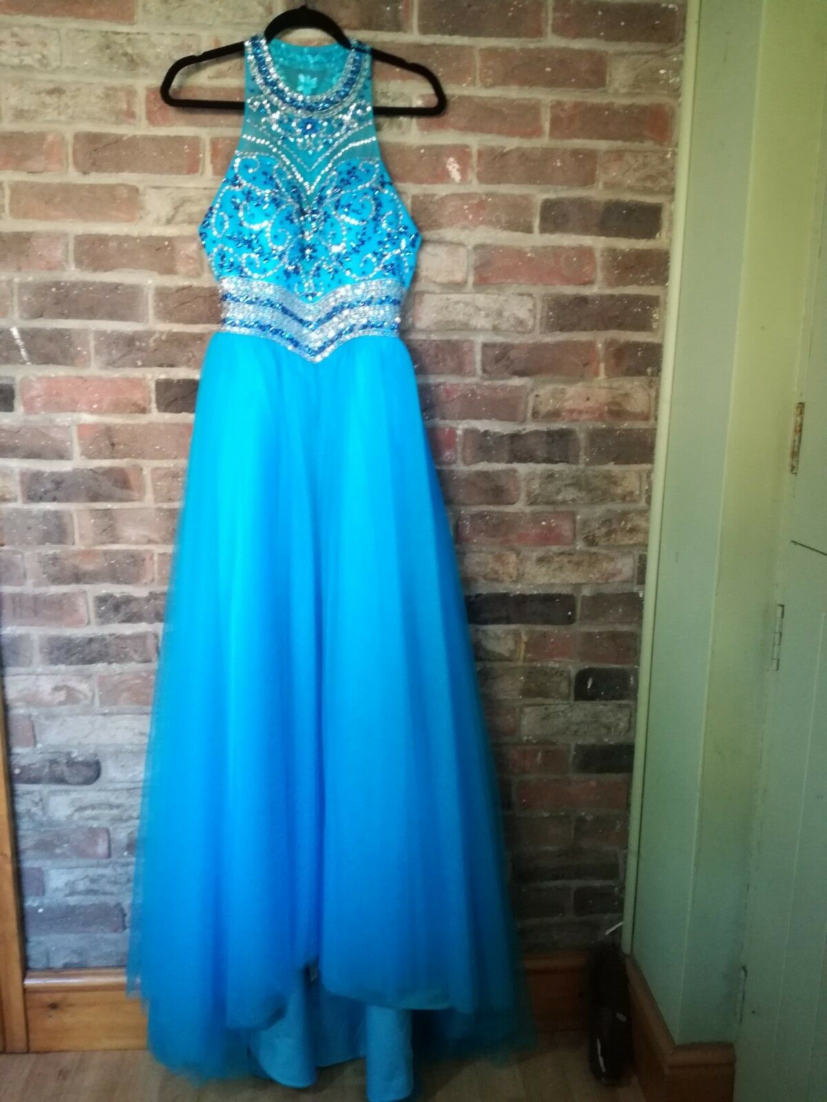 NEW   HEBEOS Beautiful Turquoise Ball, Party, Prom Beaded Dress Größe  12