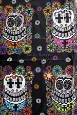 SALE Andover Jesus Cruz Mi Familia Skulls Skull Panel Black Cotton Fabric Panel