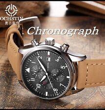 U.K. Silver Pilot Military Quartz Chronograph Sports Watch With Leather Strap