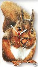Red Squirrel Wooden Wall Clock Made in UK Gift Boxed