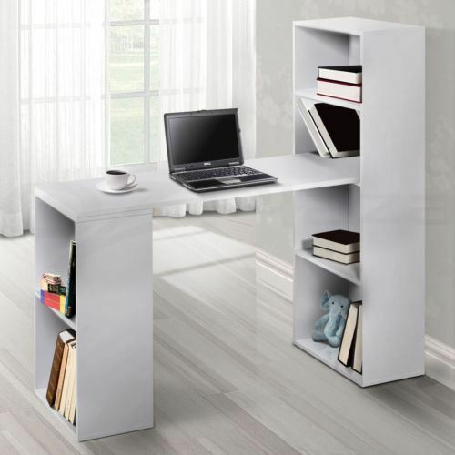 Office Computer Desk Table 6 Storage Shelf Bookcase Student Study Stand