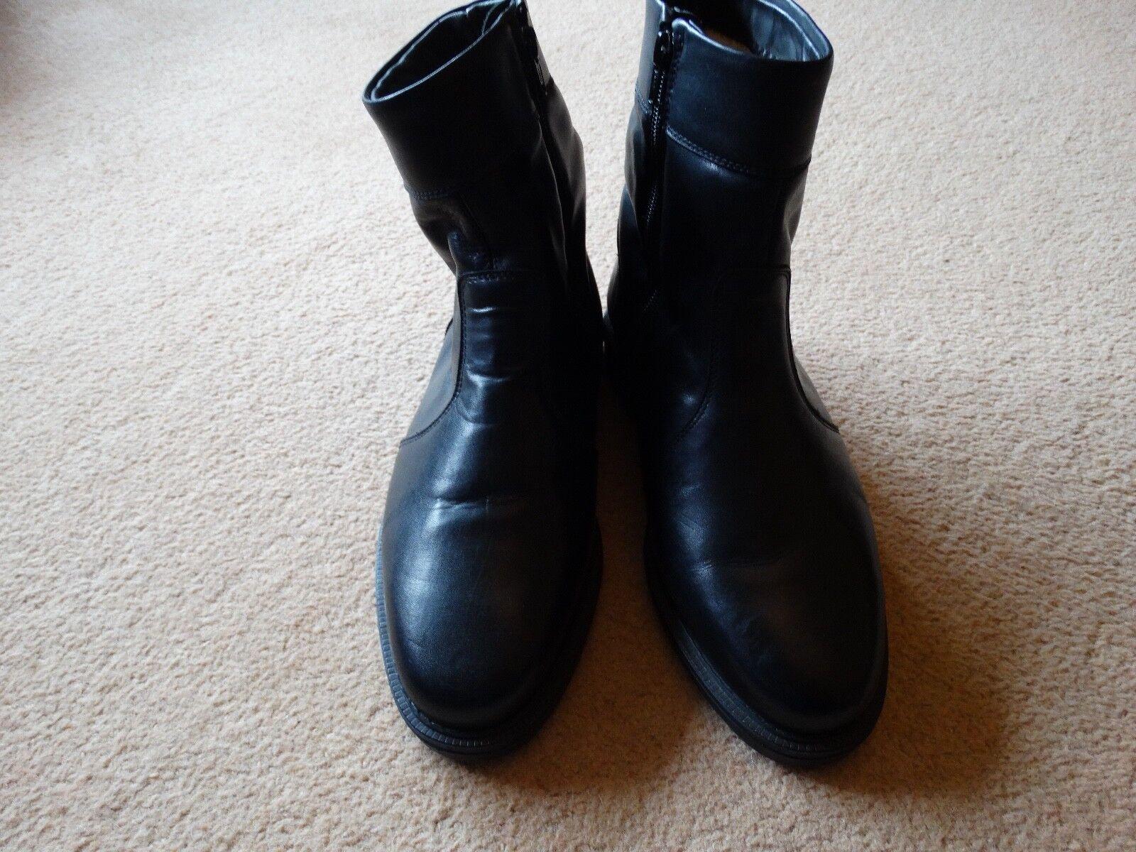 MEN'S BLACK LEATHER SIDE ZIP SHEEPSKIN WOOL LINED BOOTS UK 8 NEVER WORN NEW