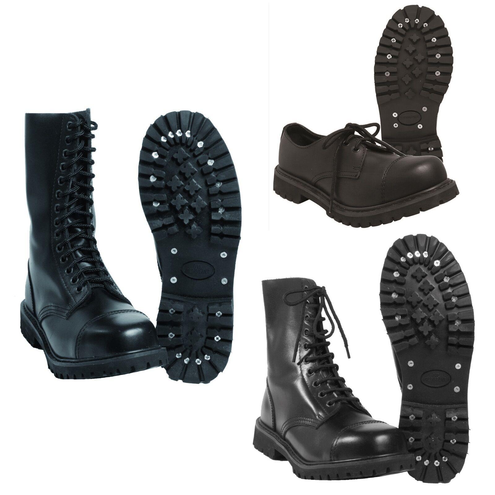 Mil-Tec - Invader verschieden Loch Stiefel Boots Schwarz Stahlkappe Leder Schuhe