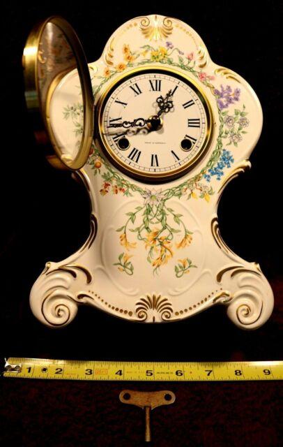 Franz Hermle Mantle Clock Porcelain Fr Floral Horticulture Estate Vintage