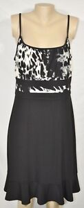 ARTEX-FASHIONS-Black-Gray-Cream-Patterned-Dress-XL-Spaghetti-Straps-Ruffle-Hem