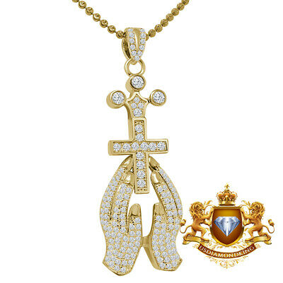 Sterling Silver .925 Yellow Gold Iced Out Simulated Lab Diamond Praying Hand Charm Pendant With 24 Stainless Steel Chain