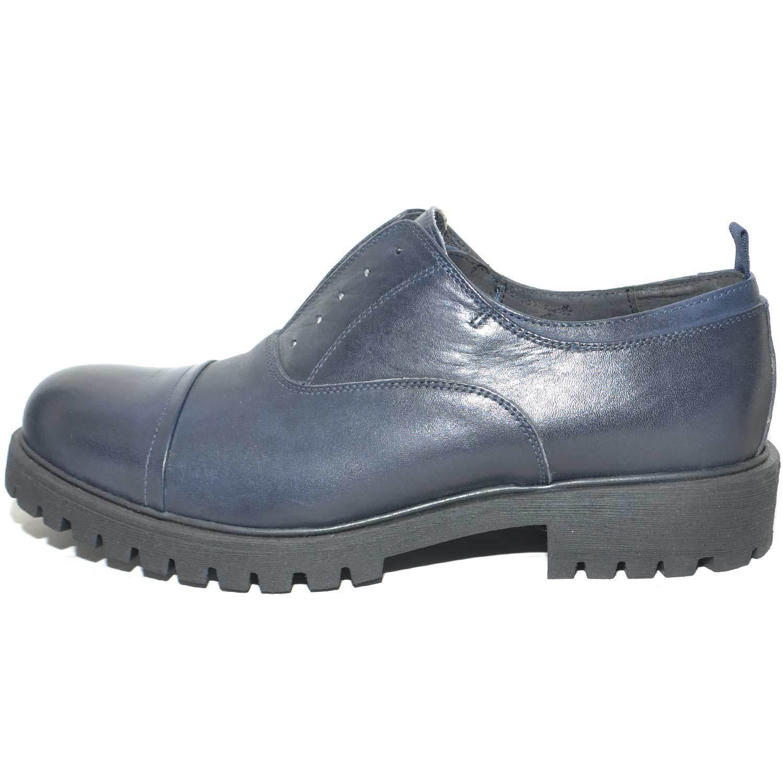 Calzature con uomo art.323 francesina in crust blu con Calzature chiusura ad elastico centrale 7a77e9