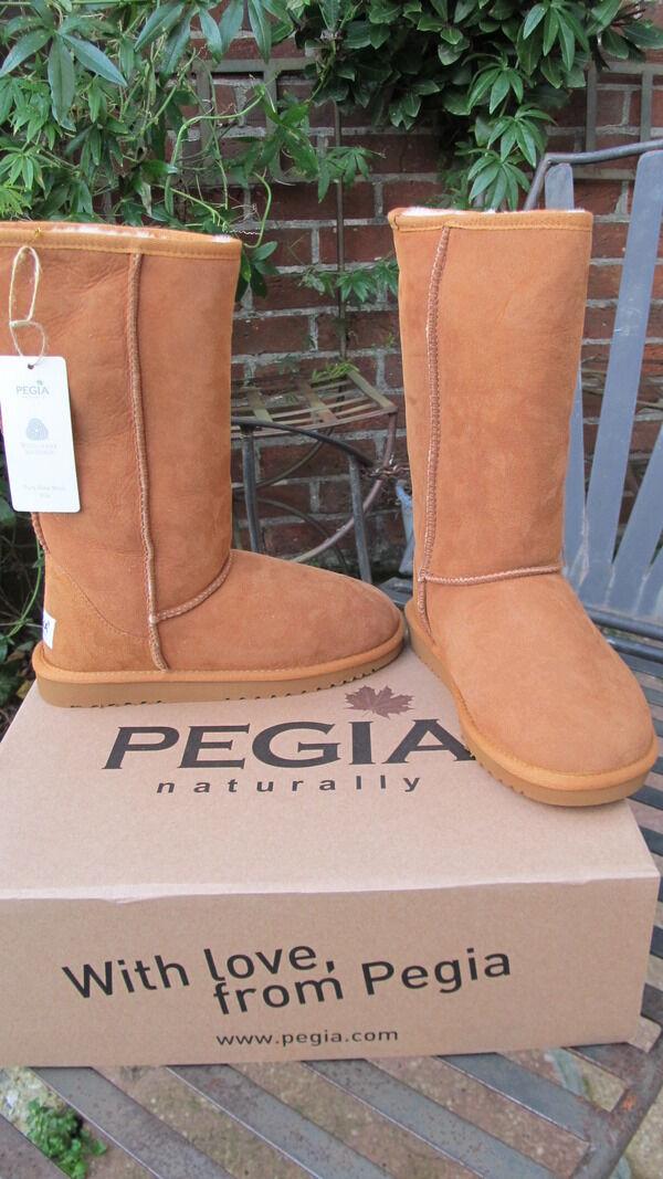 Luxury PEGIA 100% genuine woolmark suede uk6 sheepskin tan Stiefel bnib uk6 suede 39 NEW ae82cc