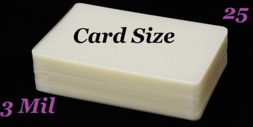 Card Size Hot Laminating Laminator Pouches Sheets 25 pk 3 Mil 2-3//4 x 4-1//2