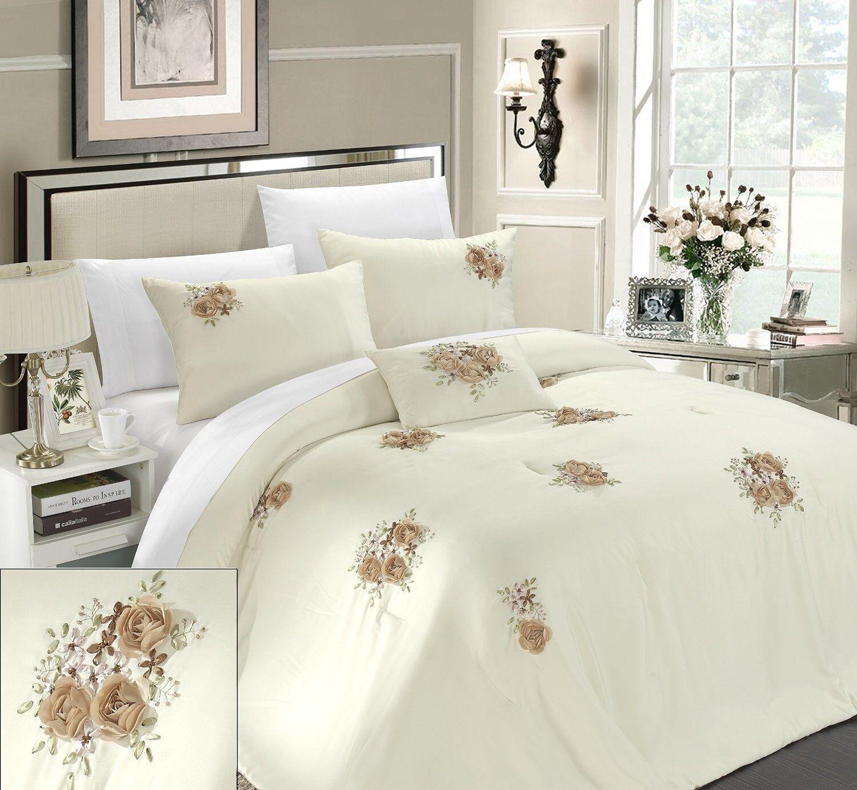 Luxurious 5-Piece Queen Size Comforter Set White, Pillow Shams Bed Skirt New.
