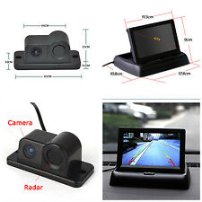 "Car Reverse Parking Camera With Radar Sensor +4.3"" Foldable LCD Rearview Monitor"