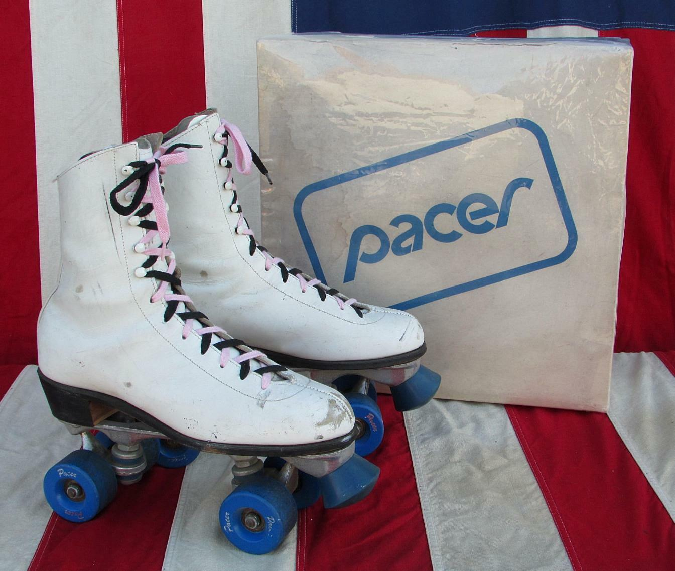Vintage Pacer Damen Weiße Leder Rollschuhe Tolle Form   Sz.10 W / Orig. Box