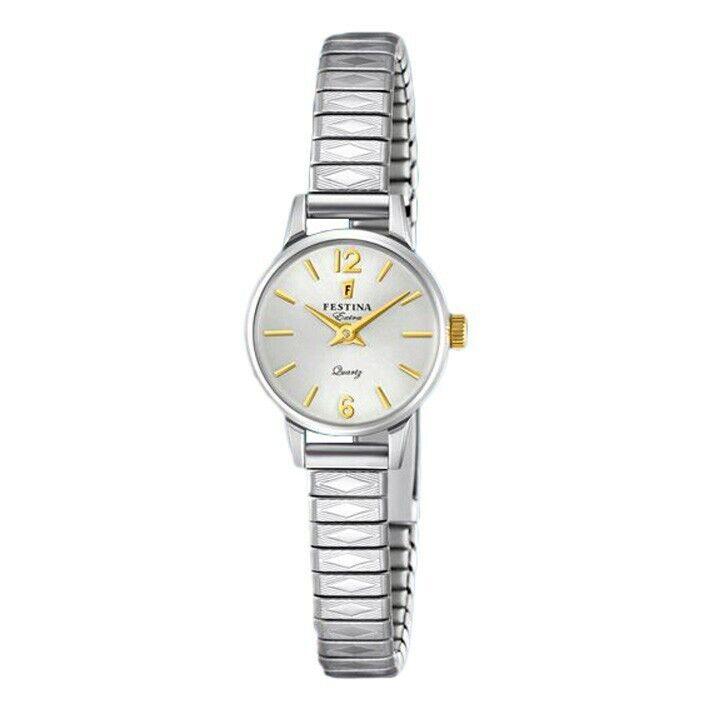 Reloj mujer Festina Extra F20262/2 esfera plateada índices dorados