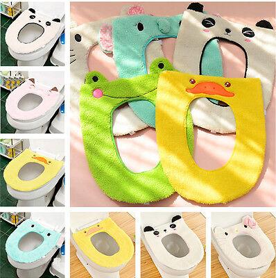 Cartoon Warm Velvet Toilet Mat Toilet Seat Set Animal Bathroom Mat Cover Gift US
