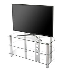 "Clear TV Stand Media Audio Tower Cabinet For 32/"" 35/"" 37/"" 40/"" 46/"" TVs"