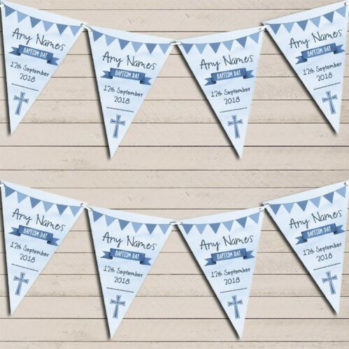 Blue Boys Watercolour Banner Baptism Day Personalised Christening Bunting