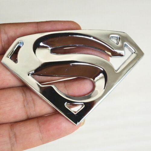 1xPure Metal Chrome 3D Superman Logo Emblem Badge Car Body Rear 3M Sticker Decal